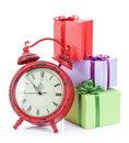 christmas-clock-three-gift-boxes-isolated-white-background-47067258