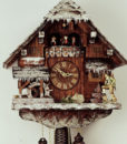 "8318 W ""Winter Clock"" - 12 "" x 17 "" x 9 ""  This charming eight-day musical cuckoo clock has a night shut-off lever so you can turn off the music and cuckoo and leave the time-keeping function running. The beautiful chalet is covered in sparkling snow and icicles and depicts a traditional Black Forest hunter waiting impatiently under the eves for perfect hunting weather. The figures are hand carved with exquisite detail. The waterwheel turns and the dancers dance as the mechanical music box plays two German melodies.   The clock comes packaged in genuine recylced or renewable materials, each clock made and packaged BY HAND by Black Forest craftsmen the same way they have been for hundreds of years. The cuckoo bird, hands, numbers, and dancers are all made of solid wood. The bird and dancers move along with the mechanically produced music and cuckoo call.  The sound of the bird is produced by real wooden whistles and the music box movement is made in Switzerland .   This grand piece is by Rombach und Haas and is exclusively available through North Coast Imports. It is an Official Black Forest Clock, certified by the VDS.  If you are interested in this clock please Email us at: clocks@NorthCoastImports.net - please be sure to include your zip code so we can direct you to a dealer in your area."